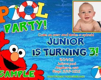 Elmo POOL PARTY Birthday Invitations, DIY Digital Printable File