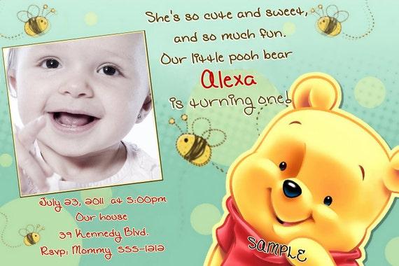 winnie the pooh birthday invitations printable photo card, Birthday invitations