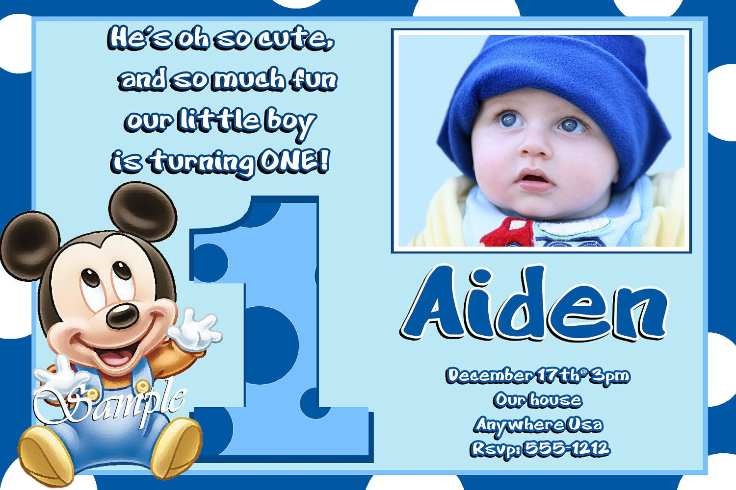 Mickey Mouse 1st Birthday Invitations with matching thank you
