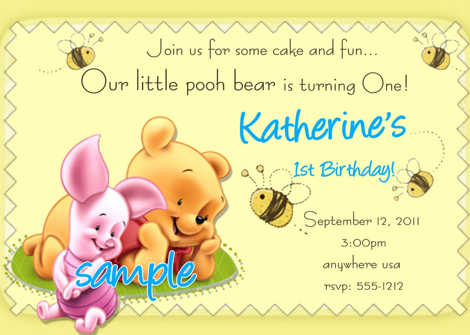 Winnie the Pooh 1st Birthday Invitations Printable Photo