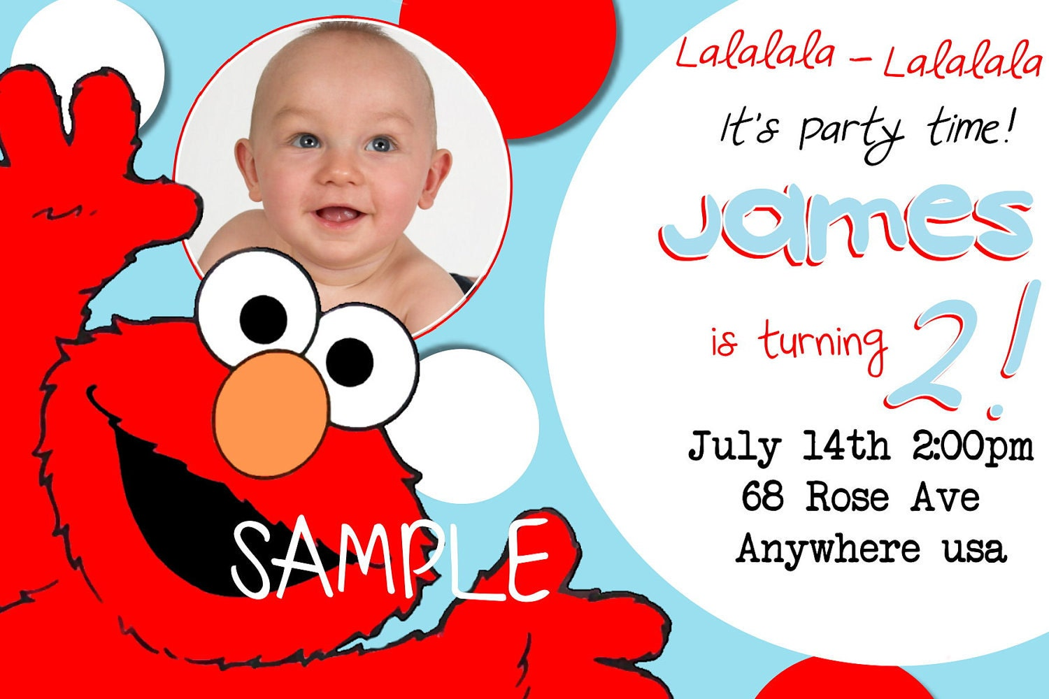 Elmo Birthday Invitations Sesame Street Inspired Photo