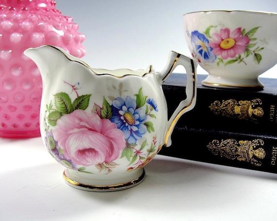 Vintage Bone China Sugar & Creamer Vintage 1940s England Aynsley Pink Floral Roses.