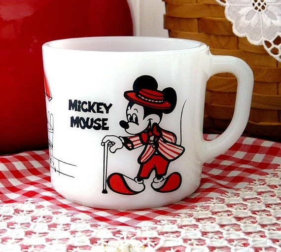 Vintage Fire King Coffee Mug Cup 1960s Anchor Hocking Mickey & Minnie Mouse Retro Walt Disney Collectible Red.