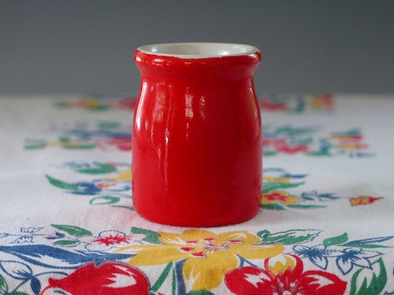 Vintage Hall China Syrup Jar Individual Creamer Syrup Pitcher Chinese Red Restaurant Ware 1960s.