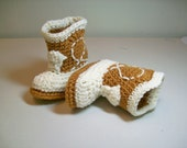 Cowboy Booties -  Golden Brown and Ivory - PLEASE STATE SIZE