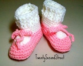 Crochet Baby Booties Pink Ballet Slippers Baby Shoes with Pink Bows and White Socks