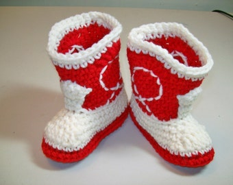 NEWBORN  Crochet Baby Booties  Red and Ivory Cowboy Booties  Western Baby Shoes