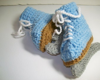 Crochet Baby Booties Blue Skates  3 to 6 months Baby Figure Skates