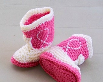 Cowgirl Baby  Booties  Rose and Natural Crochet Cowboy Boots Baby Photo Prop