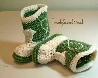 SALE 9-12 Month Size Crochet Baby Booties Green & Natural Cowboy Boots
