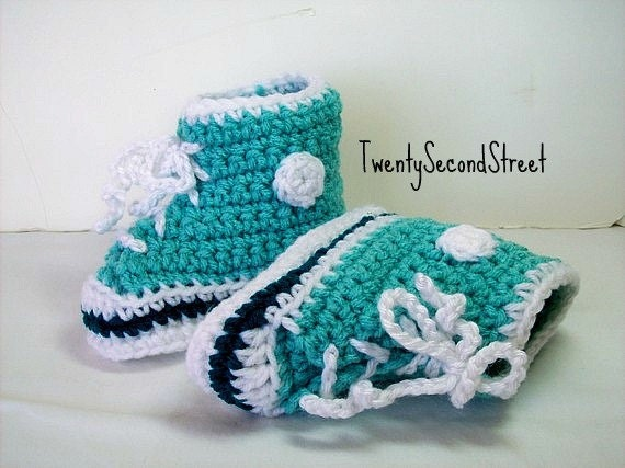 CLEARANCE Baby Booties 6-12 months Aqua Hi-top Sneakers Crochet Converse Style Baby Shoes