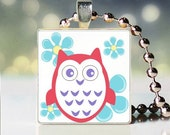 Owl Wearable Art Glass Tile Pendant