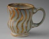 Light Blue and Golden Tan Ceramic Mug