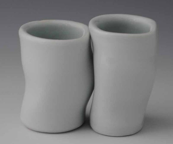 Two Cups, Tiny White Porcelain Pair