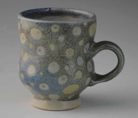 Blue, Tan, and White Spotted Ceramic Mug