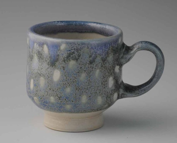 Blue and White Spotted Ceramic Mug