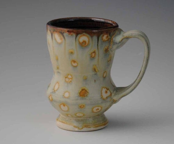Cream and Golden Tan Spotted Ceramic Mug