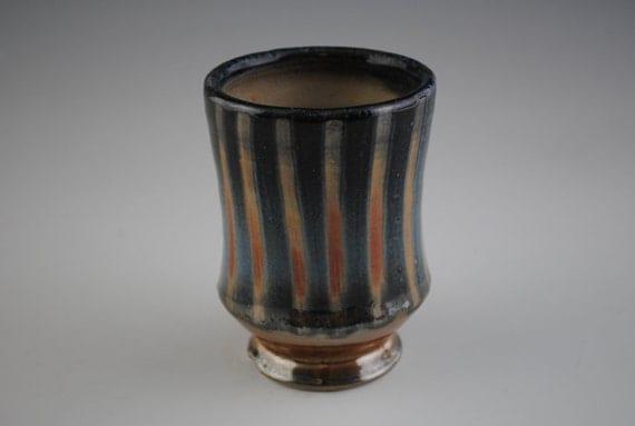 Cup, Striped Orange and Blue  Shino Yunomi
