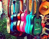 sale 25% off las guitarras. rainbow spanish guitars. music photo vibrant Los Angeles photograph. latin inspired, southwest decor, California