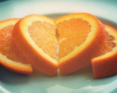 Heart photograph, love on a sunday morning, romantic orange slices amore citrus fruit food photography, kitchen, kids room, Valentines