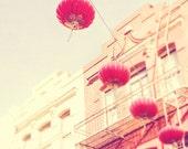 photography, San Francisco Chinatown photograph, red paper lanterns, chinese asian decor, cherry tangerine orange California Lunar New Year