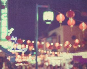 photo of LA Chinatown, red paper lanterns print, asian decor, chinese lanterns, red, gold, loft wall art, Los Angeles art, 8x10 16x20 print