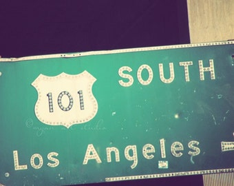 Los Angeles photography, the 101 freeway green street sign, traffic California travel SoCal road transportation, as seen on HBOs Enlightened