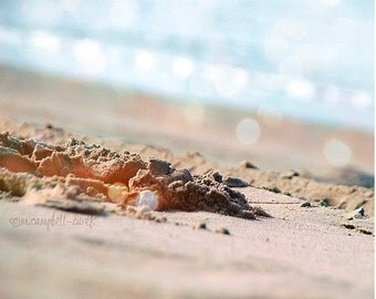 beach photography, summer day at the beach, warm sunshine, sand, sunbathing, fun vacation, dreamy blue ocean waves, California art print