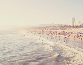 photography, beach photograph, Sunny California, crowded summer pastel blue west coast vacation Santa Monica seaside fine art print