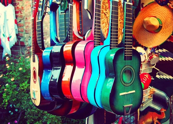 las guitarras. rainbow spanish guitars. music photo vibrant Los Angeles photograph. latin inspired, southwest decor, California art musical