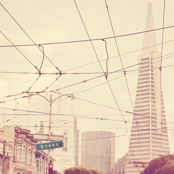 sale 25% off San Francisco photography, photo of San Fran, Transamerica Pyramid architecture downtown, cable car neutral milk white cream, s