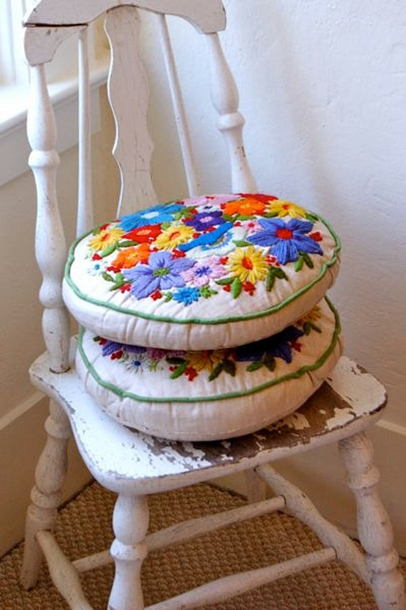 Vintage Embroidered Pillows -- Summer Cottage Collection--Set of Two