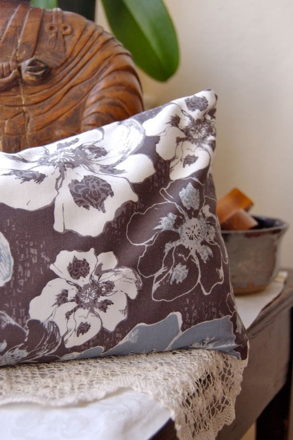 Buckwheat Pillow: Graphite and Smoke Blue Floral