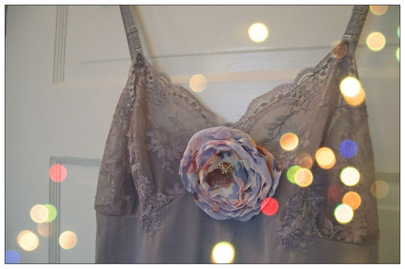 Hand Dyed Lacy Chemise: Vintage Lingerie In Smokey Amethyst