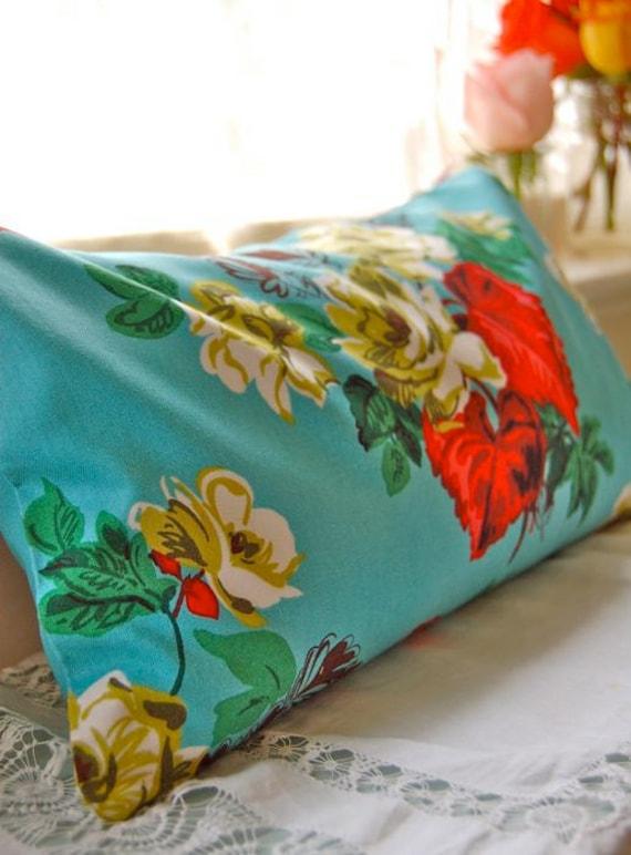 Travel Pillow: Buckwheat and Lavender Aqua Floral