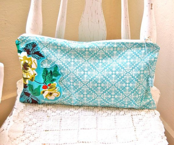 French Roses Lingerie Bag: Aqua Cotton and Lucite Beads