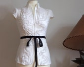 Snow white blouse urban romantic with lacy ruffles, short sleeve, feminine blouse, summer blouse top