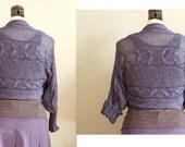 Braided SHRUG, lavender knit shrug, cotton summer shrug, cotton hand knitted sweater, braided bolero, summer fashion