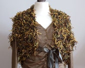 Fabulous fringy cool spring shrug in olive green ochra and brown hues, woodland shrug capelet, hand knitted shrug