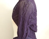 CABLED SHRUG in blueberry, summer knit shrug, boho shrug, linen braided shrug, hand knitted cropped sweater, violet bolero capelet