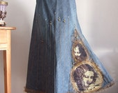 Blue denim casul couture skirt with gold Da Vinci angels tulle ruffles and studs sweet industrial one of a kind angelic urban romantic