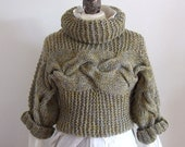 BRAIDED SHRUG in lime citron with grey / hand knitted cropped sweater / modern urban shrug / gift under 100 dollars