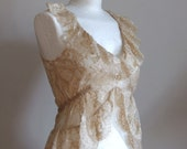 Lace camisole, fairy tale wedding, neutral top, romantic blouse in blush, scalloped bottom, v-neck ruffles, empire waist