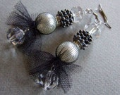 Pearl in tulle costume earrings with spark of Czech crystals, glamour earrings