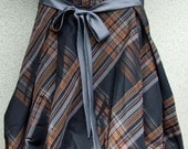 Plus size Glamorous puffy taffeta skirt, baloon skirt, size XL taffeta skirt, copper and gray plaid on black background