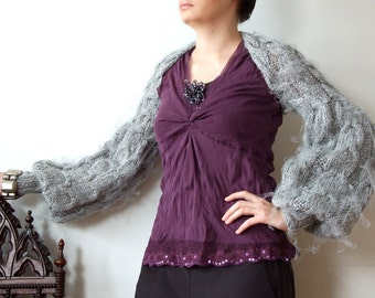 SHRUG silver frost  avant garde with long puffy sleeves and some silver tulle modern urban hand knitted