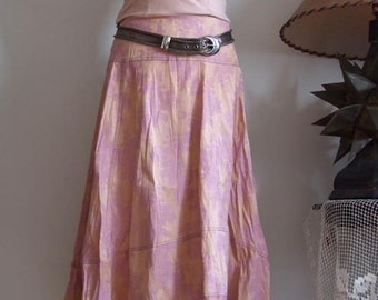California SUNSET SKIRT asymetrical skirt in golden rose, boho floral skirt, antique rose skirt, high low skirt