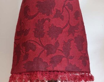 SALE Skirt in marsala ruby red with ornamental leaves, boho skirt, hand crocheted mohair ruffle, wine red skirt, fall skirt, unique skirt