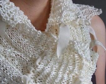 Hand knit cotton summer scarf, Vanilla cream ribbon scarf shawl, fashion scarf, wedding scarf  scarflette, romantic shawl, gift for her