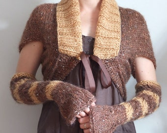 Shrug with arm warmers,  braided soft mohair shrug, copper hand knitted bolero & mittens, avant garde shrug, Couvert cropped braided sweater